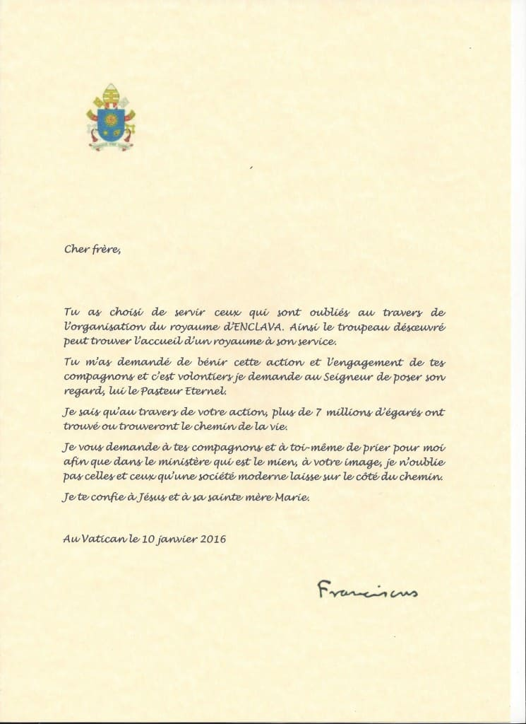 The Kingdom of Enclava, letter from His Holyness FRANCAOIS
