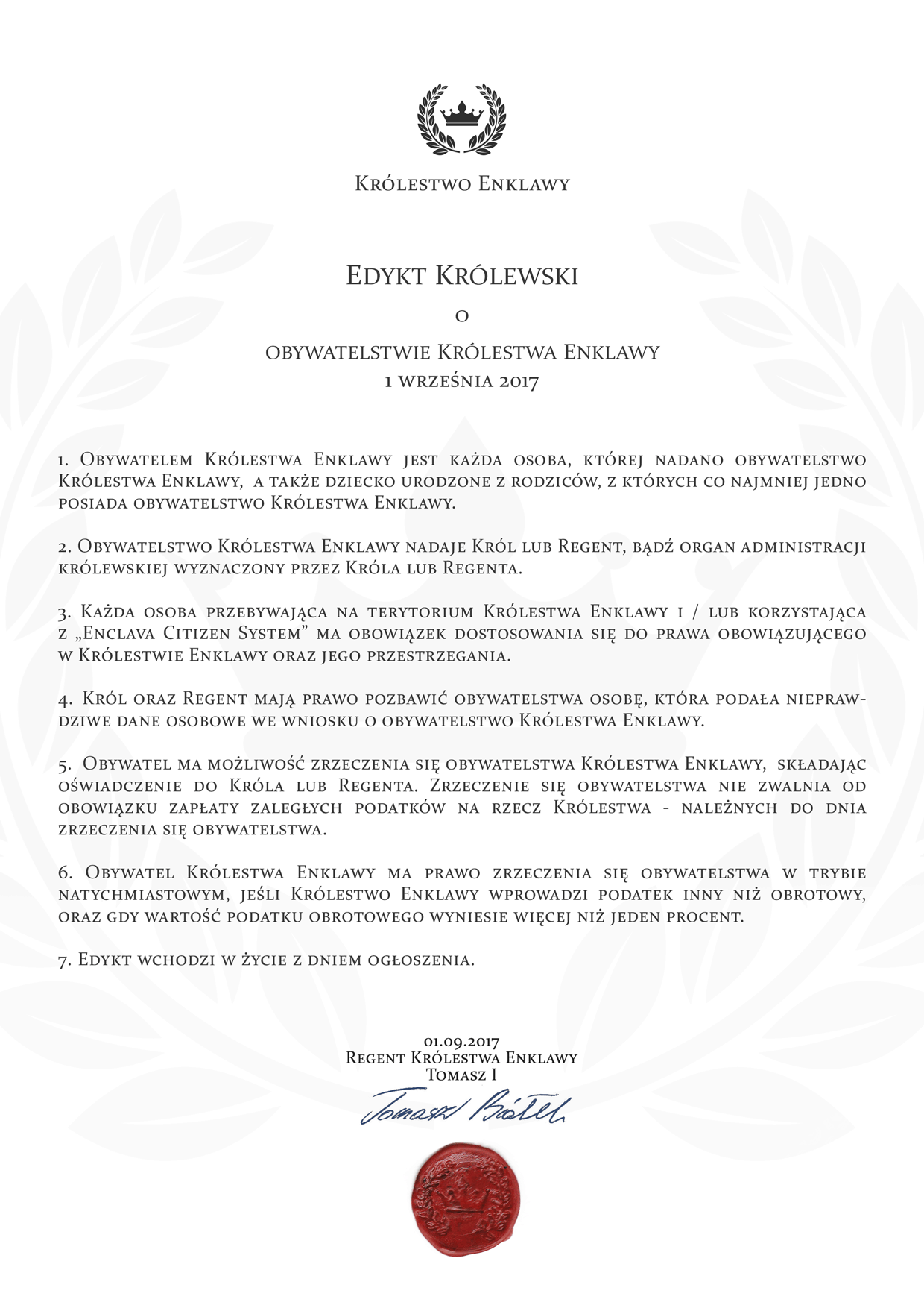 Edykt o obywatelstwie Królestwa Enklawy